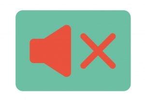 icoon van luidspreker op groen vlak met rode kruis want staat uit