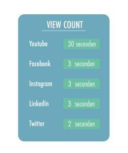 Overzicht van aantal seconde dat een view wordt geteld per social media