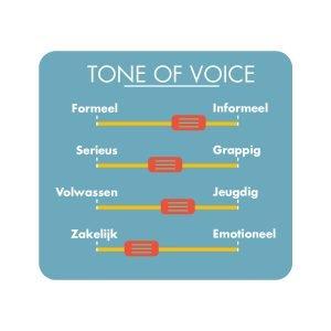 Iconisch beeld van tone of voice met 4 schuifjes voice-over